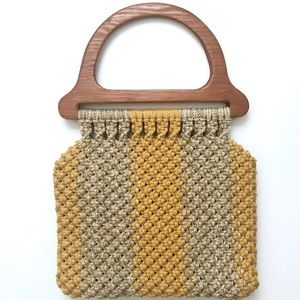 Vintage 1970s Woven Macrame Wooden Handle Purse